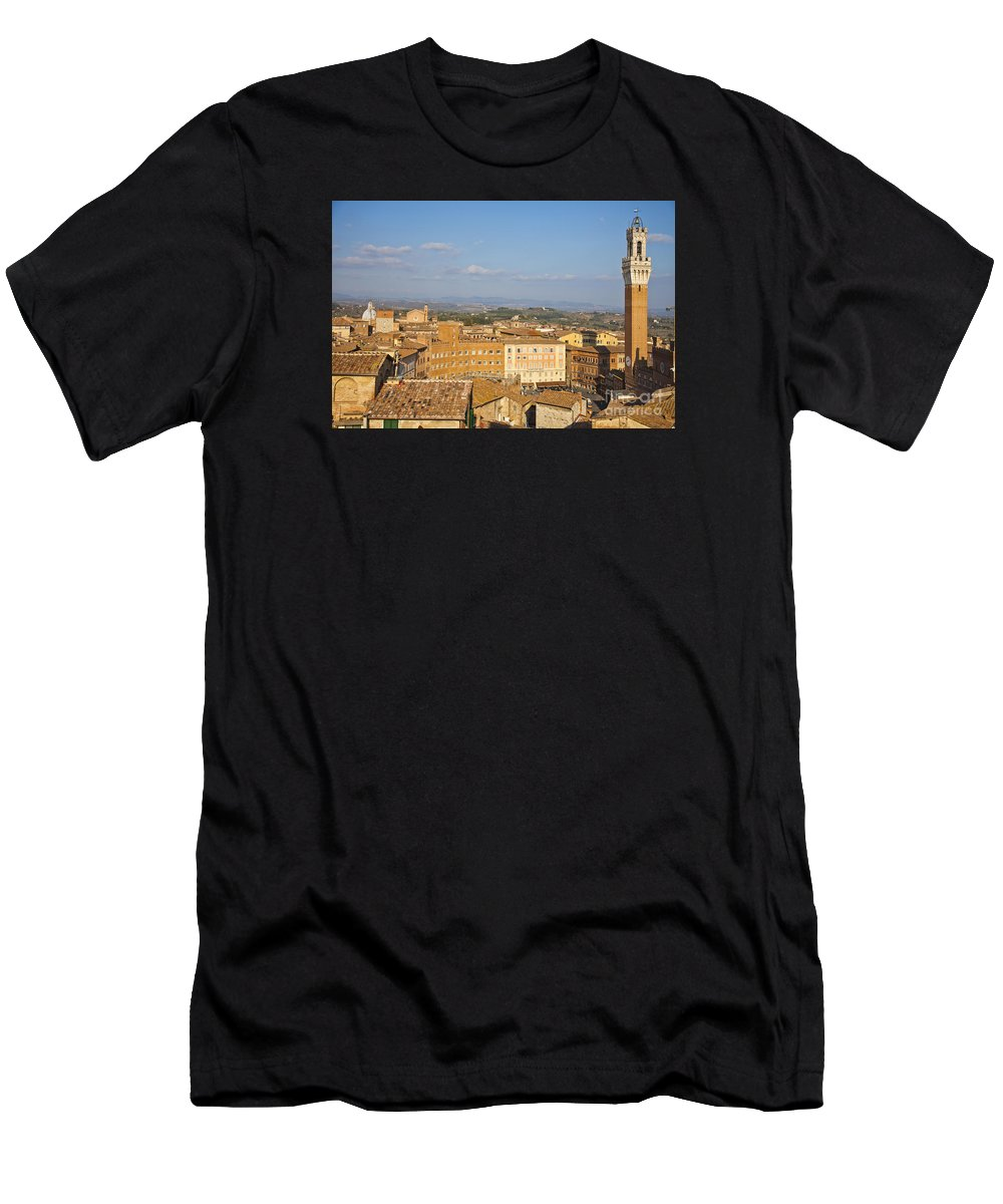 Siena Men's T-Shirt (Athletic Fit) featuring the photograph Mangia Tower Piazzo Del Campo Siena by Liz Leyden