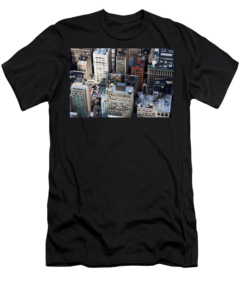 4th Avenue Men's T-Shirt (Athletic Fit) featuring the photograph Manhattan From Above by Jannis Werner