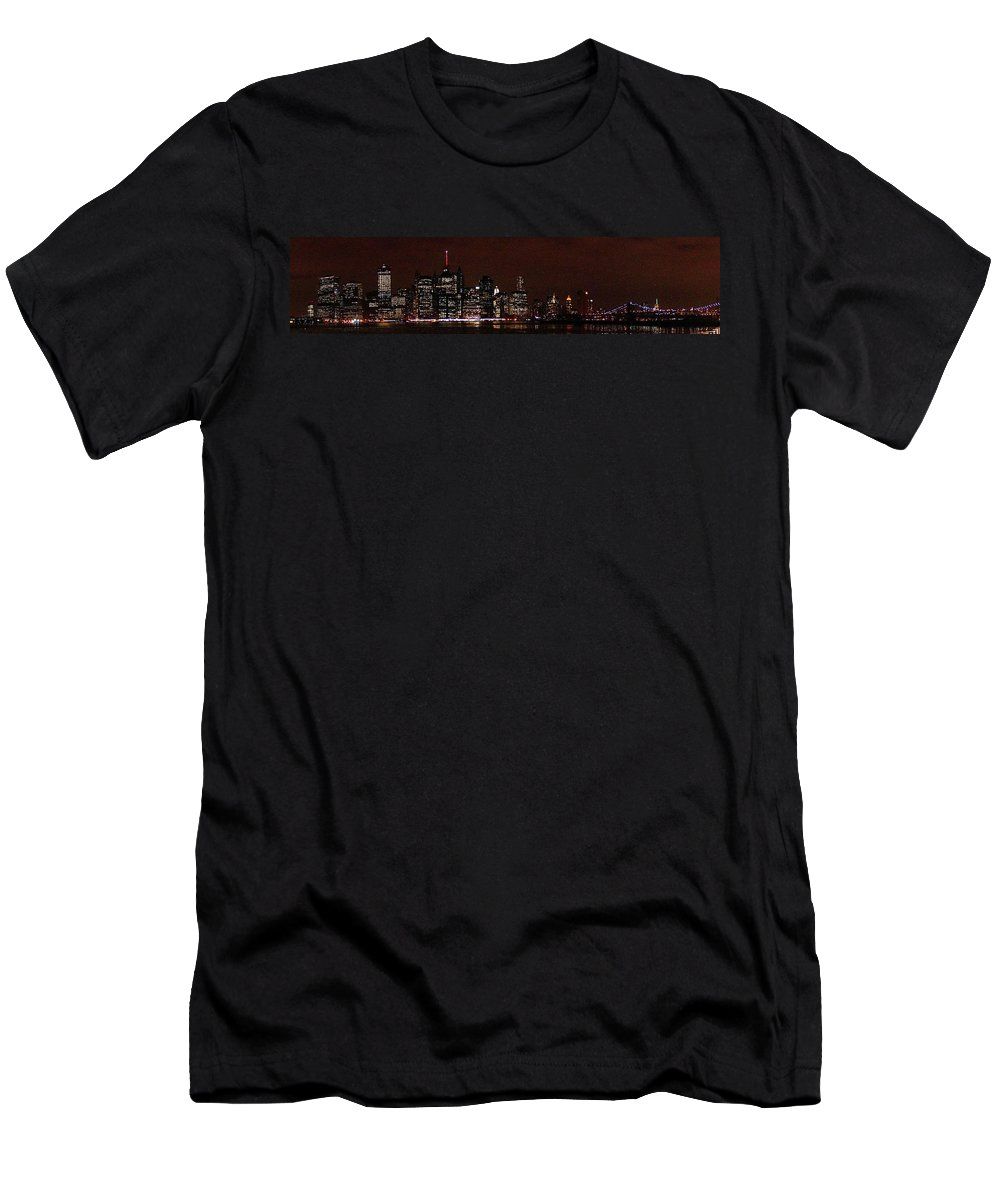 Freedom Men's T-Shirt (Athletic Fit) featuring the photograph Manhattan On Super Weekend by John Wall