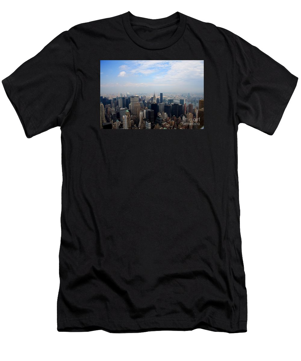 New York Men's T-Shirt (Athletic Fit) featuring the photograph Manhattan Overview by Christiane Schulze Art And Photography