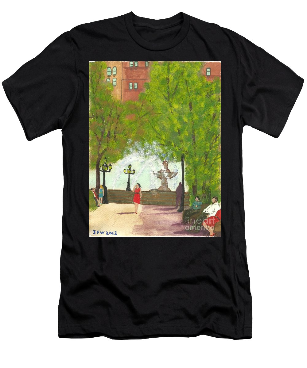 Manhattan Park Men's T-Shirt (Athletic Fit) featuring the painting Manhattan Park 2 by John Williams