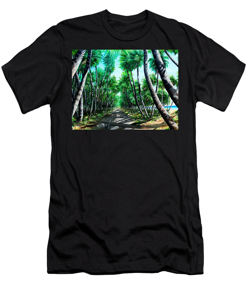 Coconut Trees T-Shirt featuring the painting Manzanilla Coconut Estate by Karin Dawn Kelshall- Best