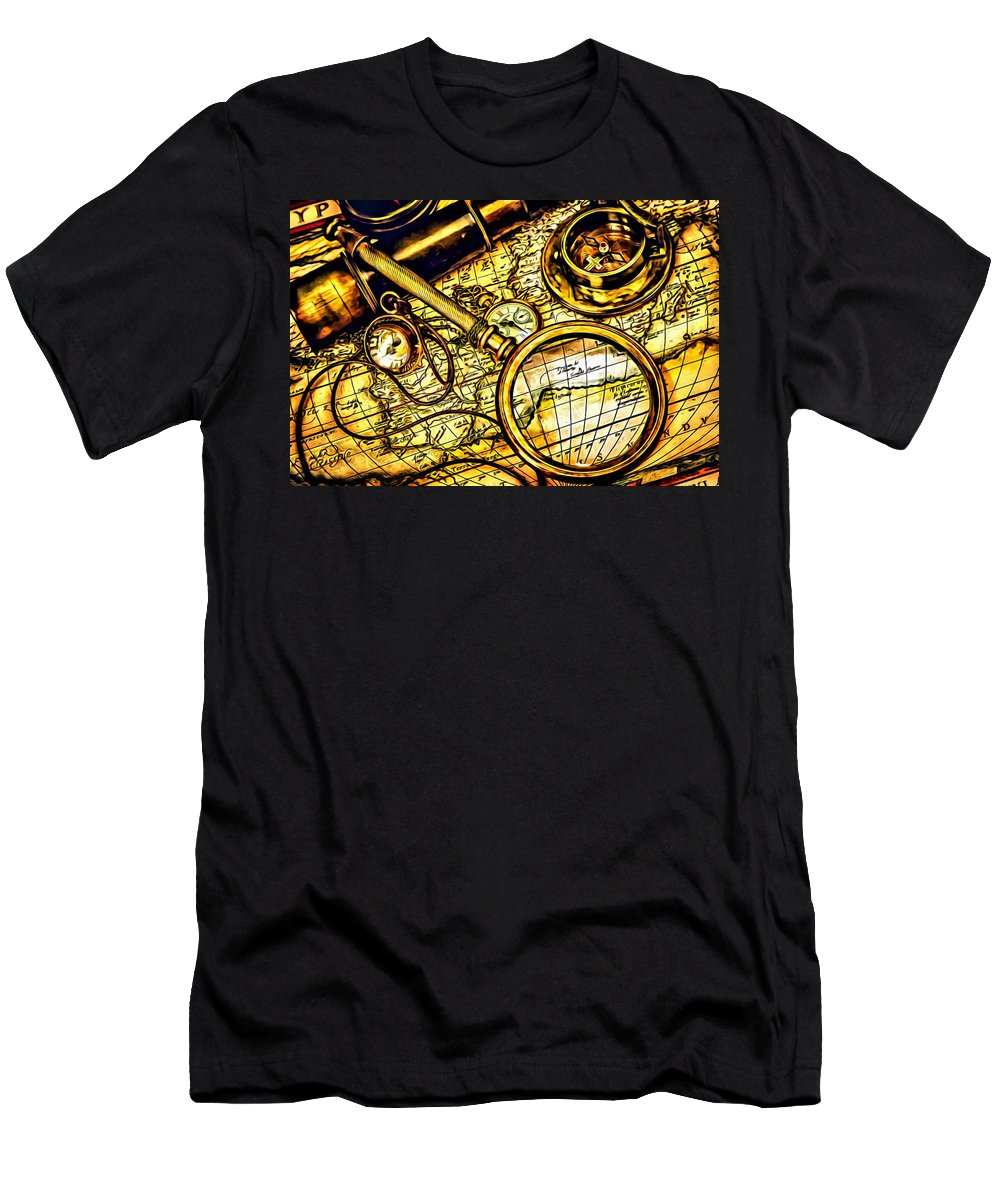 Old Men's T-Shirt (Athletic Fit) featuring the painting Map And Compass by Florian Rodarte