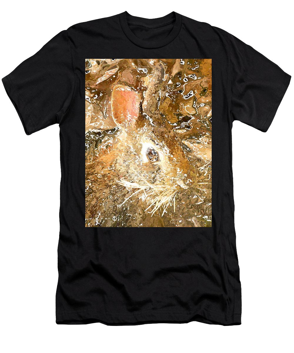 Frank Men's T-Shirt (Athletic Fit) featuring the digital art March 025 0 Rabbit Eyes Looking by Frank Crescenti