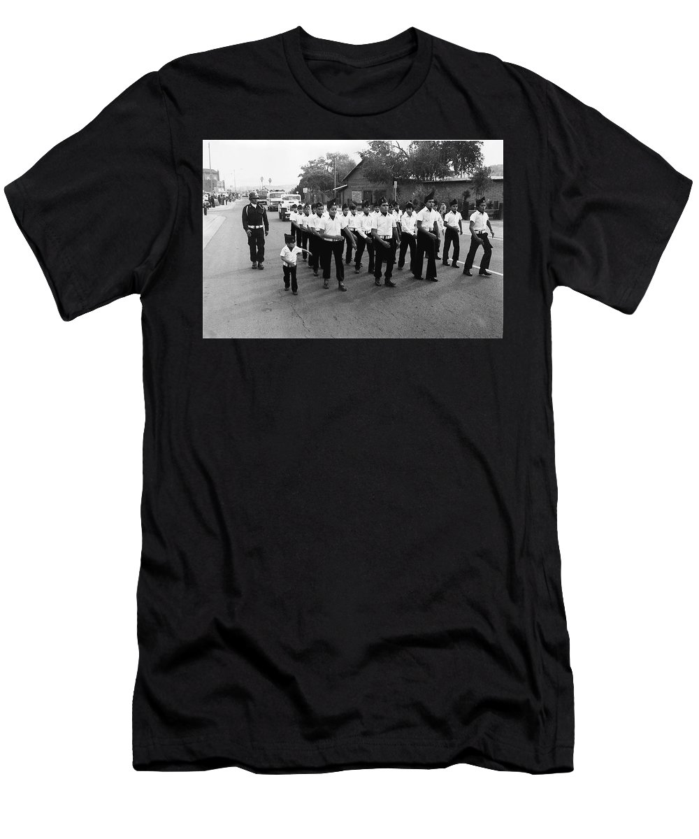 Marchers Number 1 100th Anniversary Parade Nogales Arizona 1980 Black And White Men's T-Shirt (Athletic Fit) featuring the photograph Marchers Number 1 100th Anniversary Parade Nogales Arizona 1980 Black And White by David Lee Guss