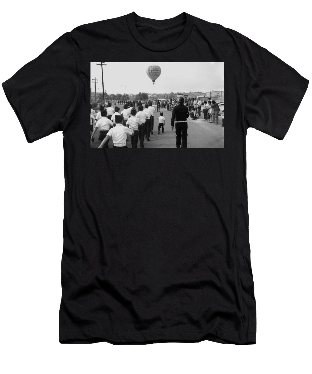 Marchers Number 2 100th Anniversary Parade Nogales Arizona 1980 Black And White Men's T-Shirt (Athletic Fit) featuring the photograph Marchers Number 2 100th Anniversary Parade Nogales Arizona 1980 Black And White by David Lee Guss