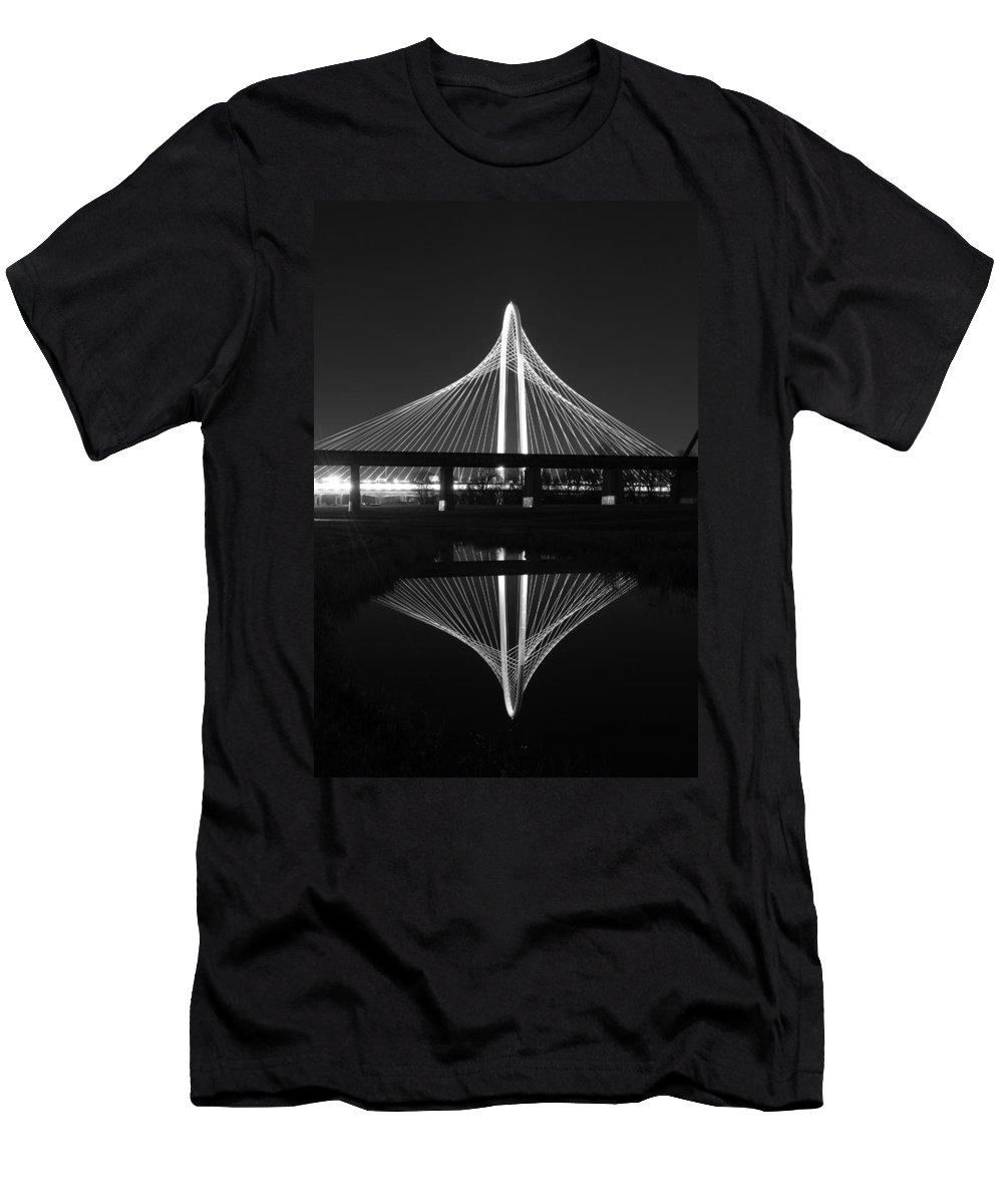 Margaret Hunt Hill Bridge Men's T-Shirt (Athletic Fit) featuring the photograph Margaret Hunt Hill Bridge Reflection by Jonathan Davison