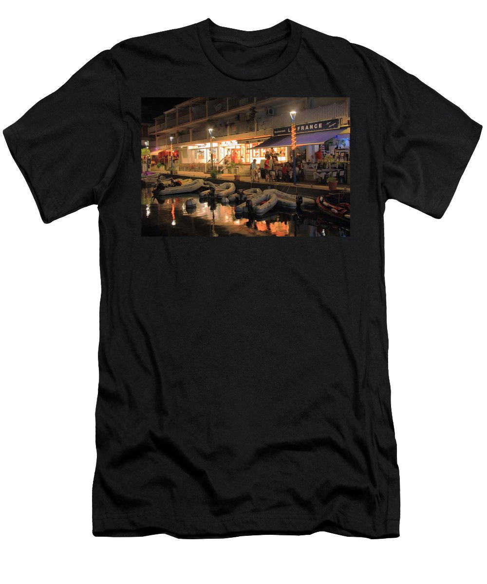 Marigot Men's T-Shirt (Athletic Fit) featuring the photograph Marigot Marina At Night by Roupen Baker