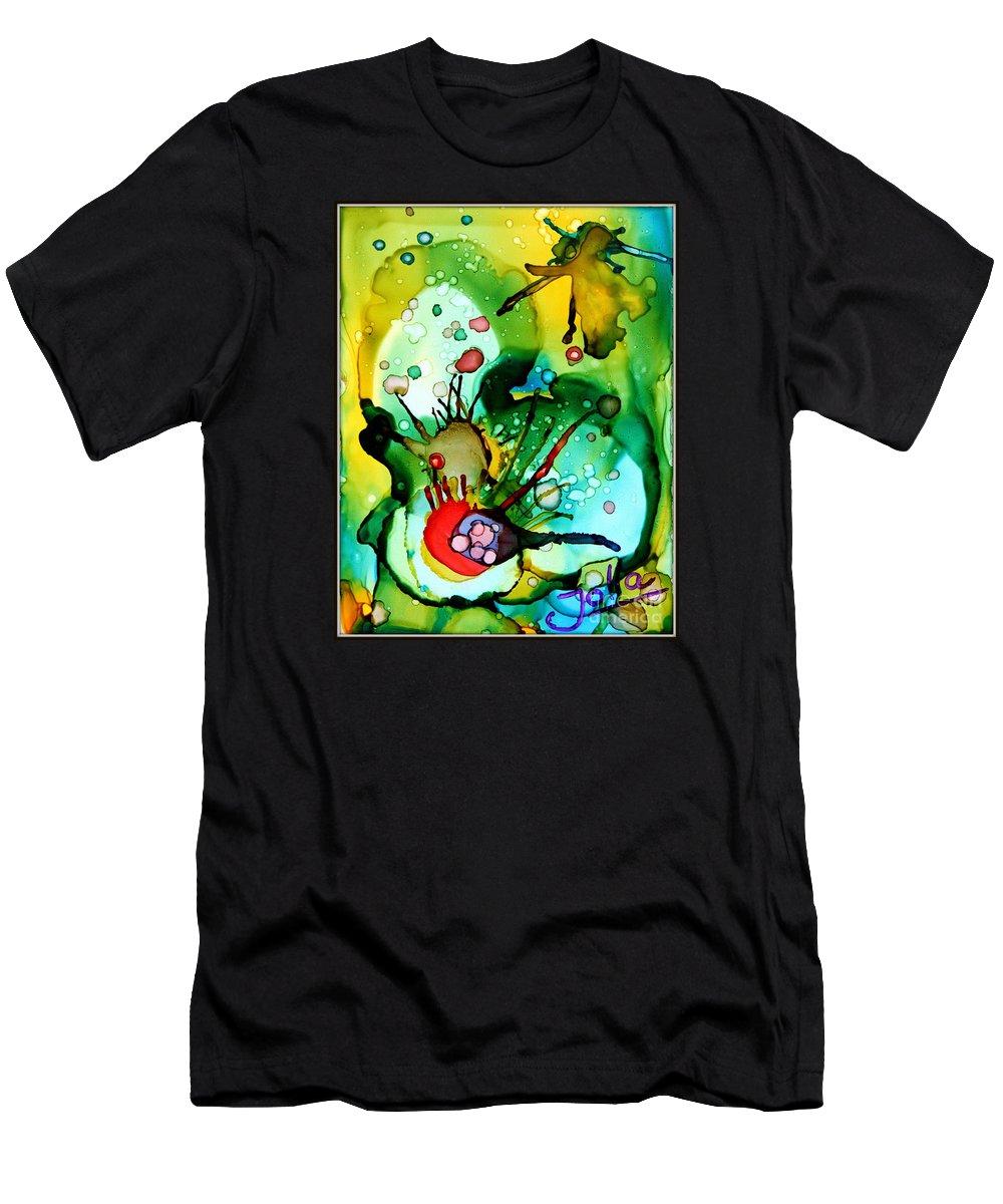 Marine Life Men's T-Shirt (Athletic Fit) featuring the painting Marine Habitats by Jolanta Anna Karolska