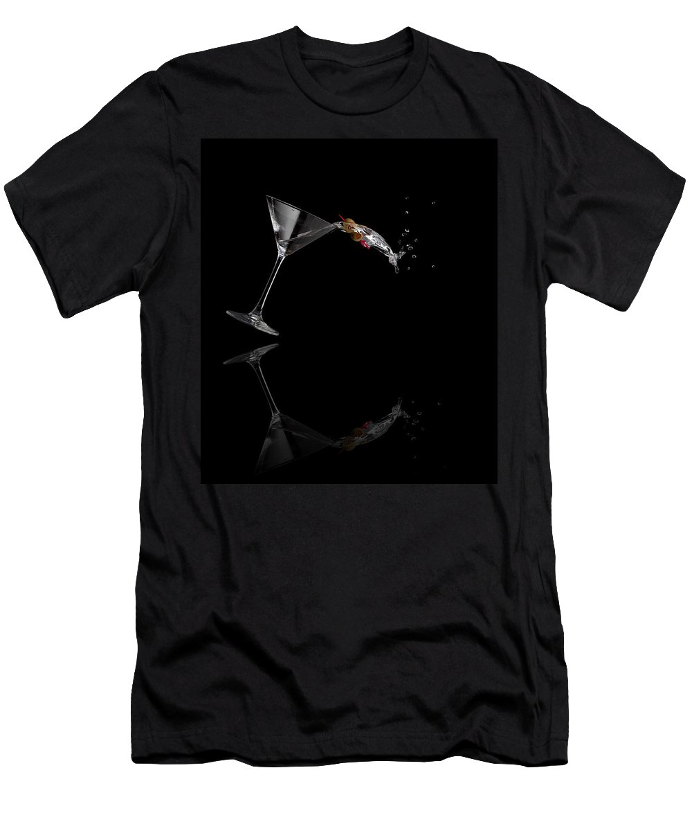 Drink Men's T-Shirt (Athletic Fit) featuring the photograph Martini Spilling by Alexey Stiop