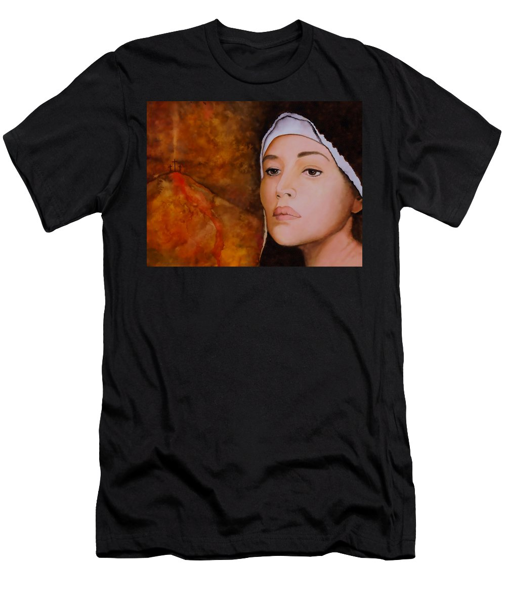 Mary Men's T-Shirt (Athletic Fit) featuring the painting Mary Magdalene by Van Bunch