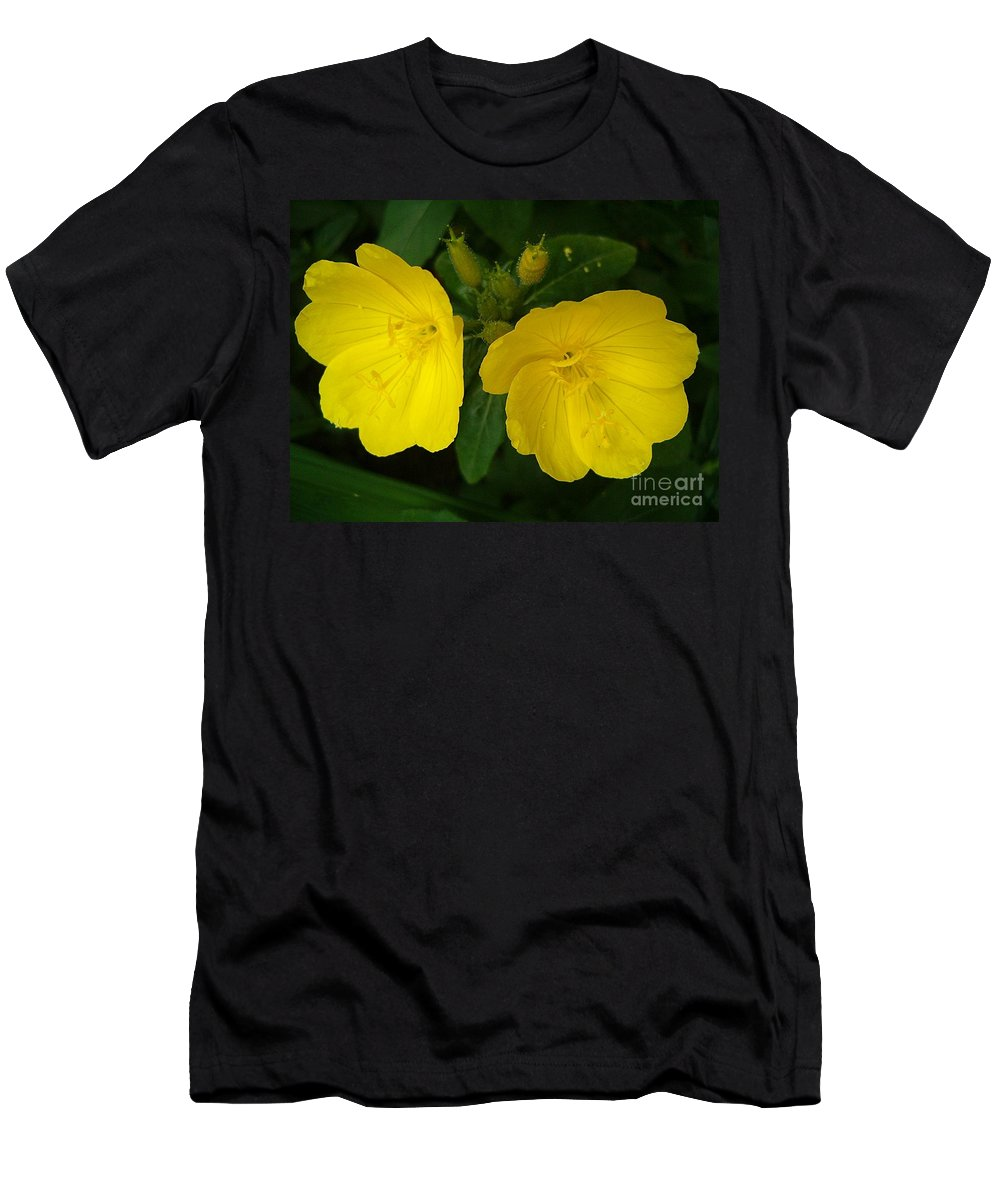 Yellow Flowers Men's T-Shirt (Athletic Fit) featuring the photograph Matching Pair by Sara Raber