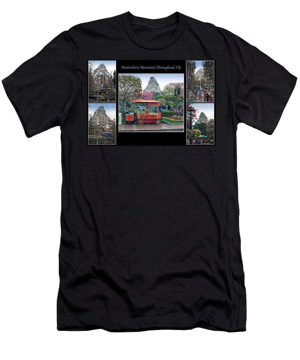 Disney Men's T-Shirt (Athletic Fit) featuring the photograph Matterhorn Mountain Disneyland Collage by Thomas Woolworth