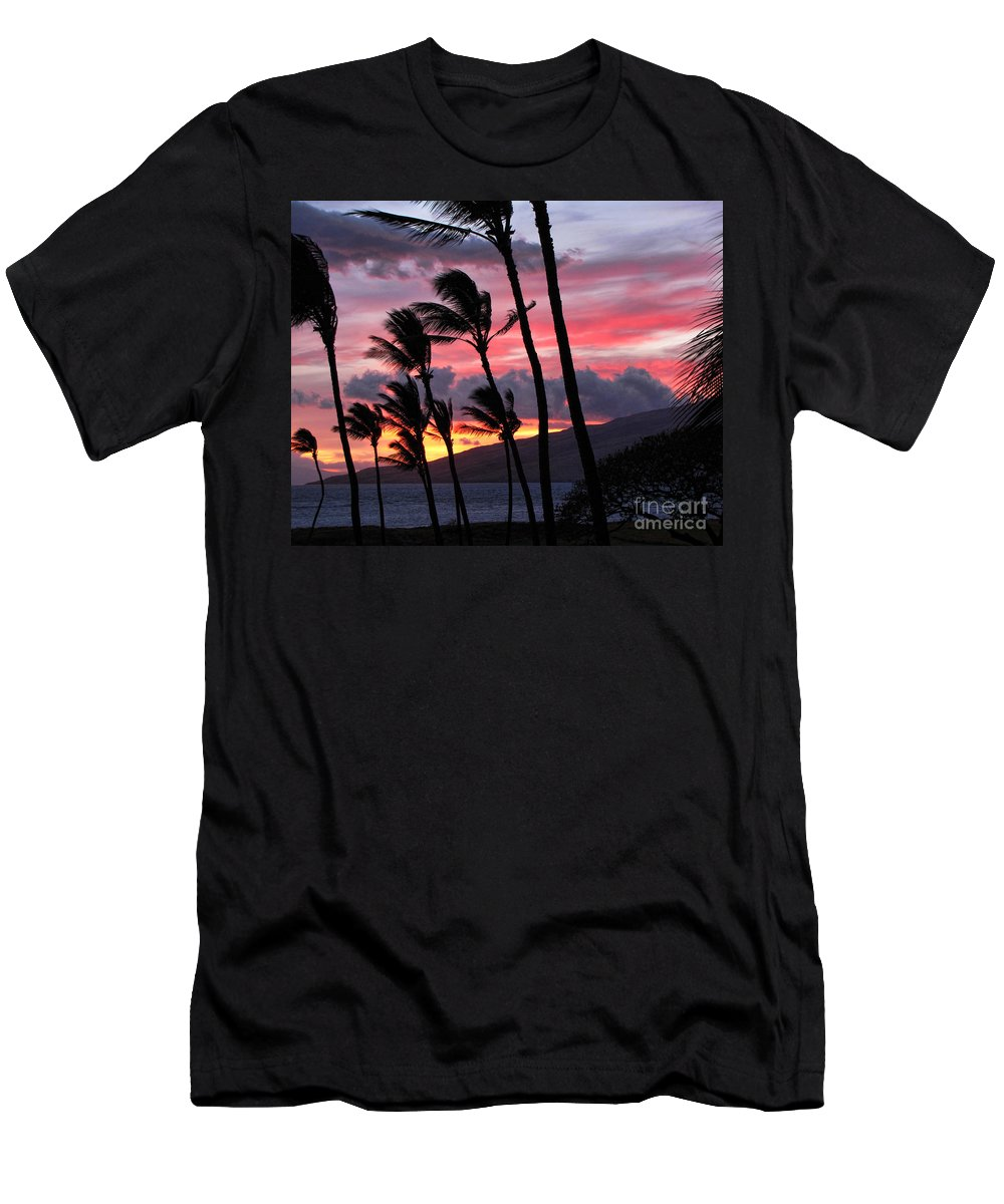 Maui Men's T-Shirt (Athletic Fit) featuring the photograph Maui Sunset by Peggy Hughes