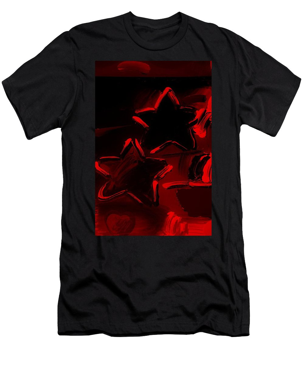 Modern Men's T-Shirt (Athletic Fit) featuring the photograph Max Two Stars In Red by Rob Hans