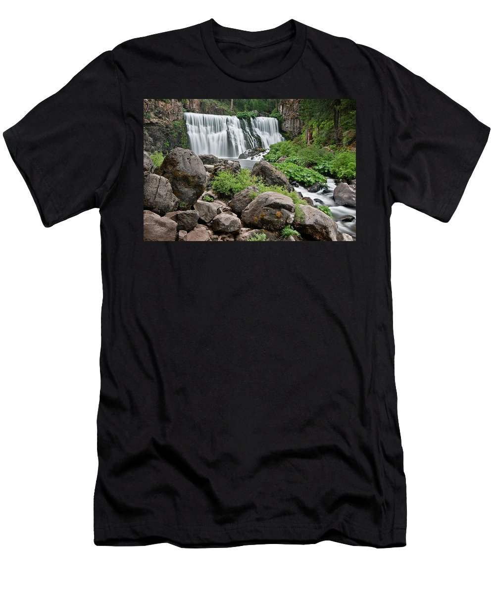 Cascades Men's T-Shirt (Athletic Fit) featuring the photograph Mccloud Falls by Greg Nyquist