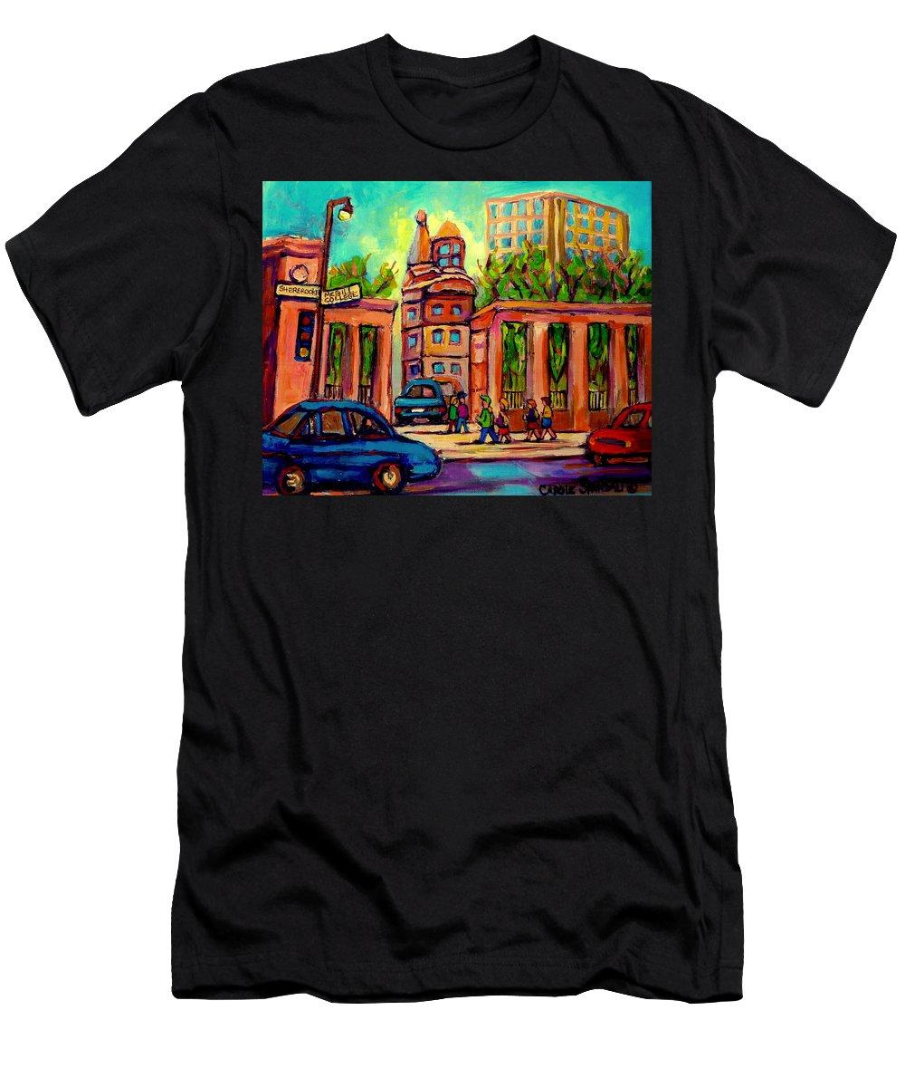 Mcgill University Men's T-Shirt (Athletic Fit) featuring the painting Mcgill University Roddick Gates Montreal by Carole Spandau
