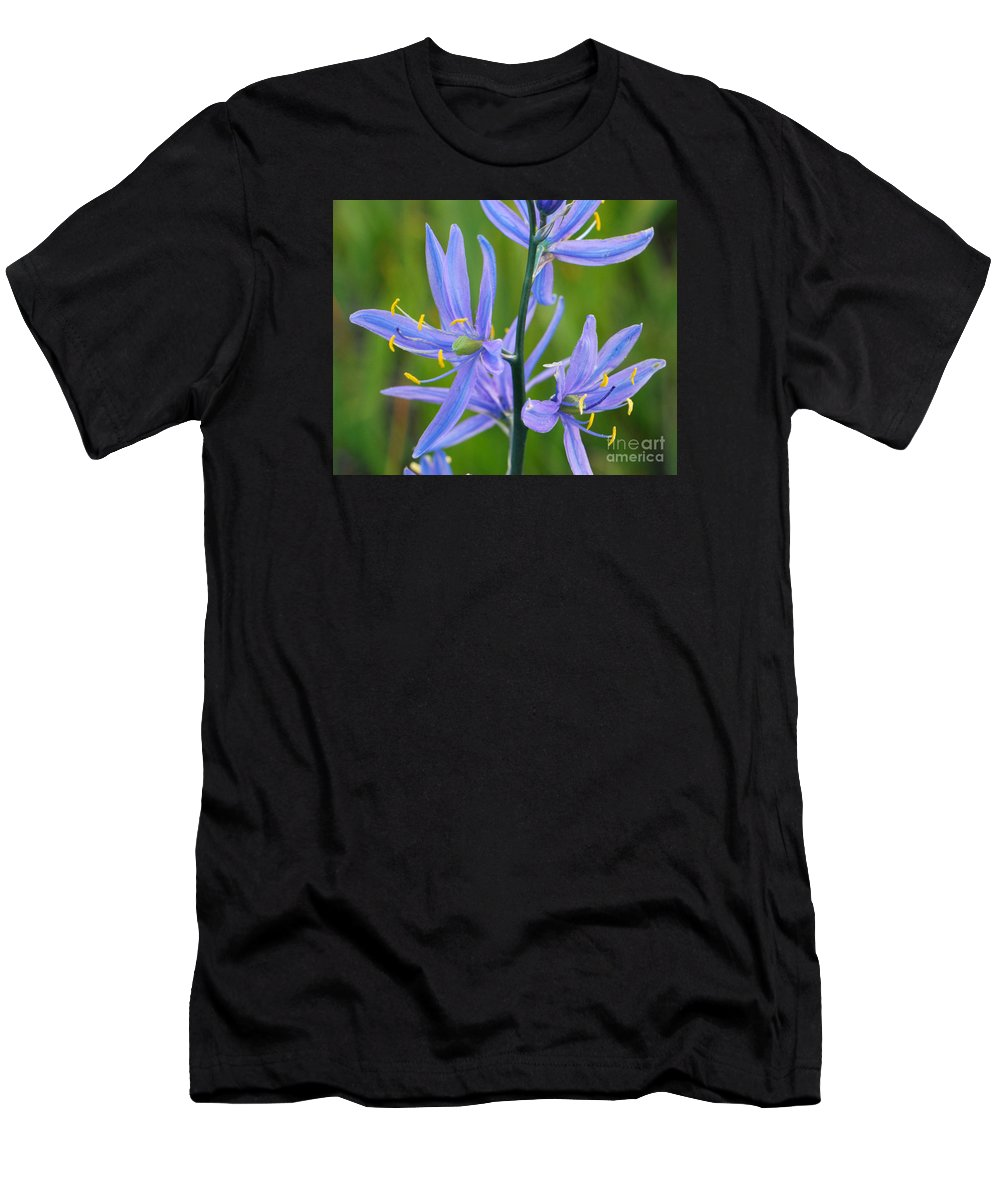 Camas Men's T-Shirt (Athletic Fit) featuring the photograph Meadow Camas by Brad Christensen