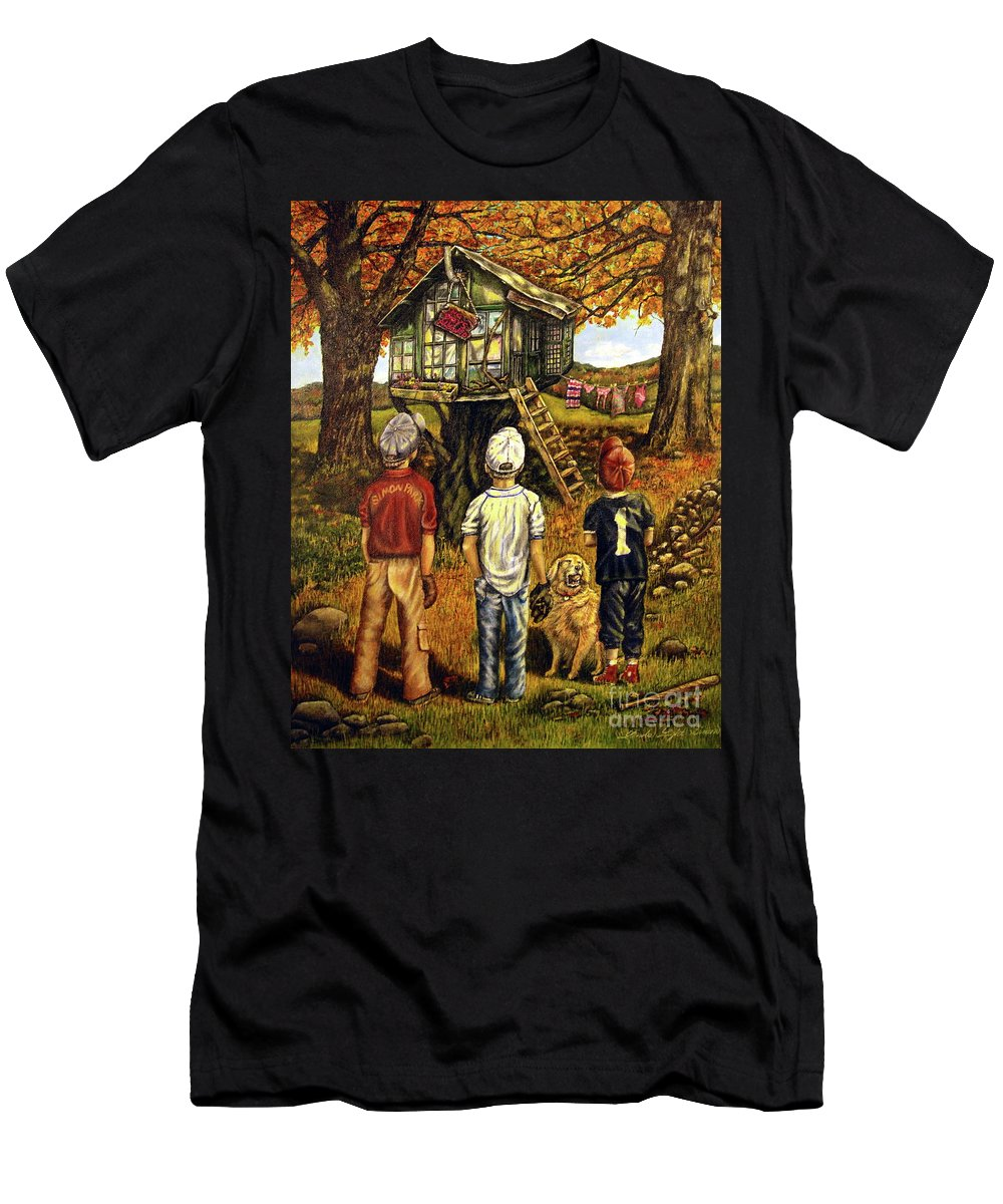 Trees Men's T-Shirt (Athletic Fit) featuring the painting Meadow Haven by Linda Simon