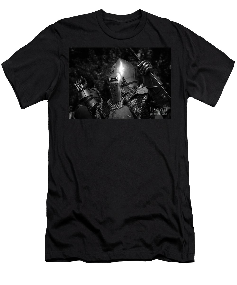 Gladiator Men's T-Shirt (Athletic Fit) featuring the photograph Medieval Faire Knight's Victory 2 by Vivian Christopher
