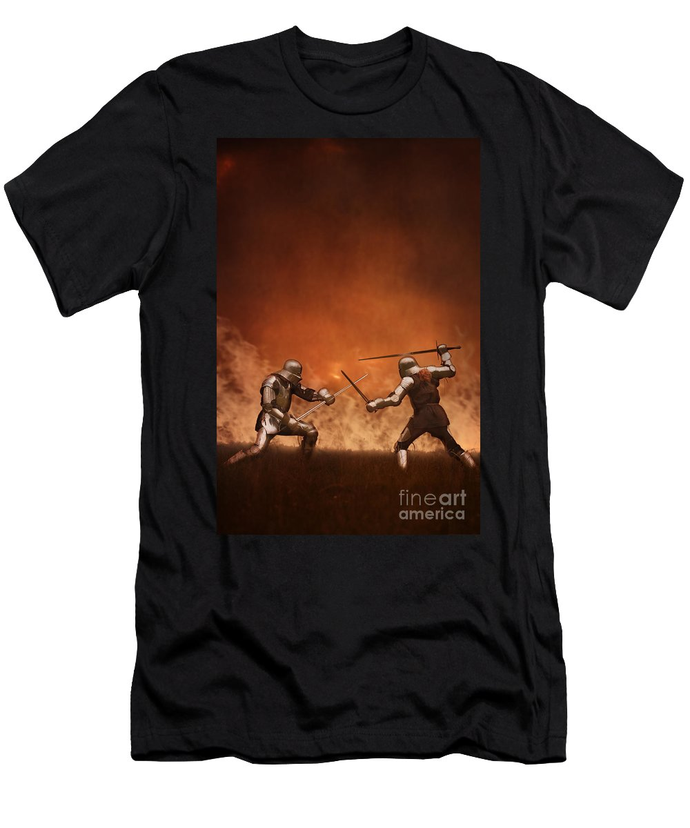 Knight Men's T-Shirt (Athletic Fit) featuring the photograph Medieval Knights In Armour Fighting With Swords by Lee Avison