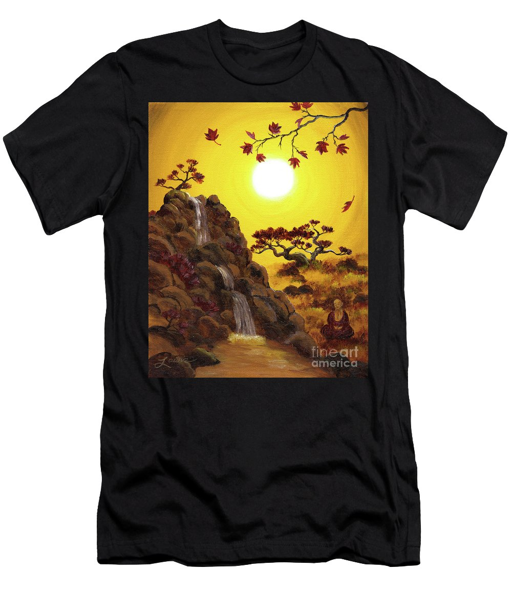 Zen Men's T-Shirt (Athletic Fit) featuring the painting Meditating By A Golden Waterfall by Laura Iverson