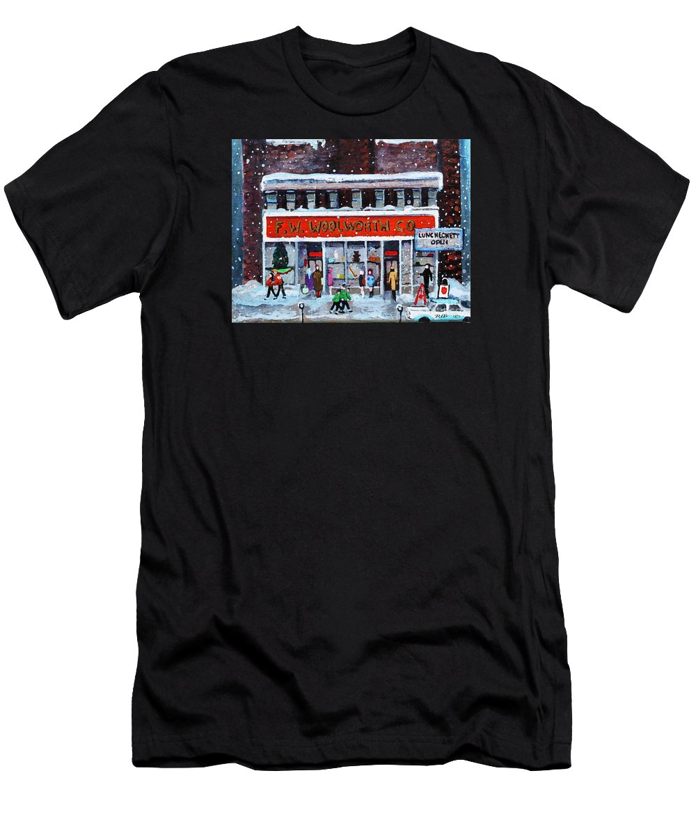 Landscape Men's T-Shirt (Athletic Fit) featuring the painting Memories Of Winter At Woolworth's by Rita Brown