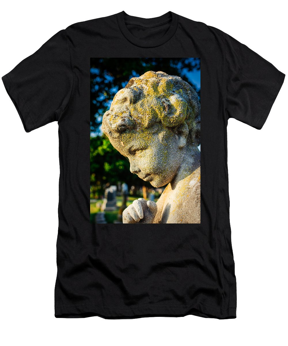 Angel Men's T-Shirt (Athletic Fit) featuring the photograph Memphis Elmwood Cemetery - Boy Angel Vertical by Jon Woodhams