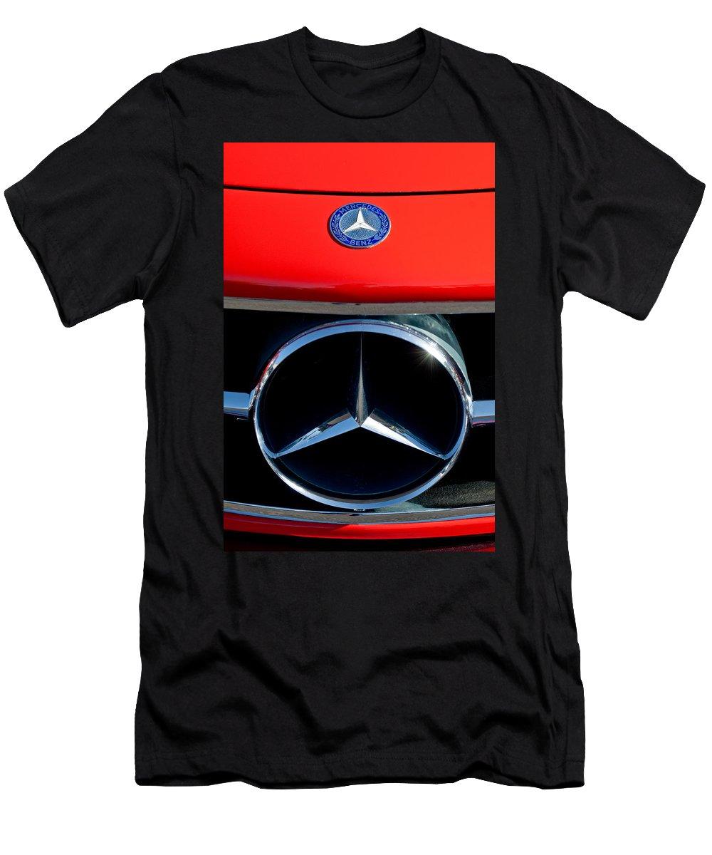 Mercedes-benz 300 Sl Grille Emblem Men's T-Shirt (Athletic Fit) featuring the photograph Mercedes-benz 300 Sl Grille Emblem by Jill Reger