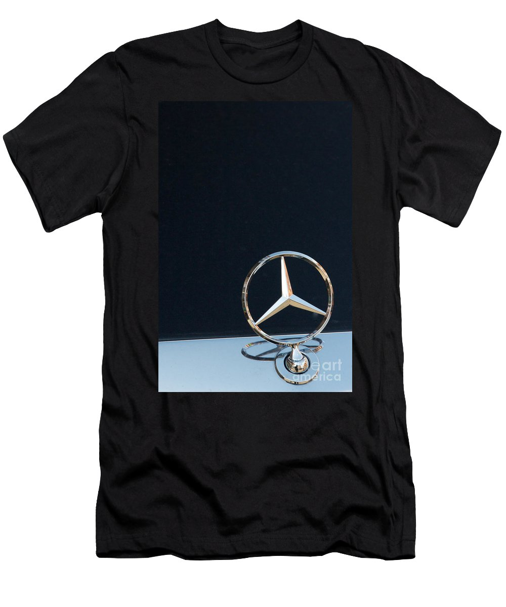 Auto Men's T-Shirt (Athletic Fit) featuring the photograph Mercedes Star On A Polished Hood by Jannis Werner