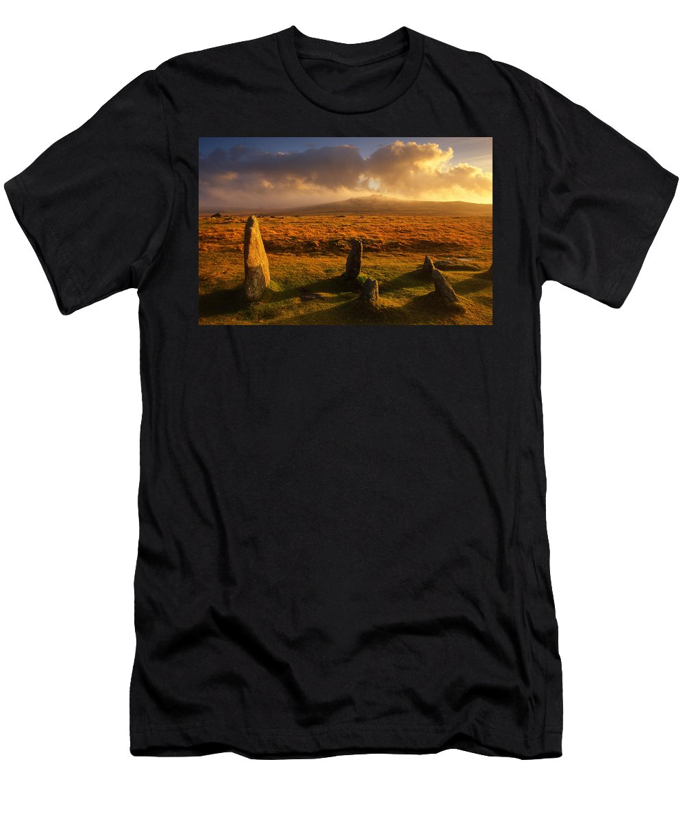 Devon Men's T-Shirt (Athletic Fit) featuring the photograph Merrivale Stone Rows by Darren Galpin