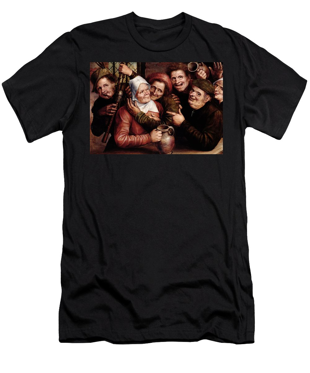 Merry Company Men's T-Shirt (Athletic Fit) featuring the painting Merry Company by Jan Massys or Metsys