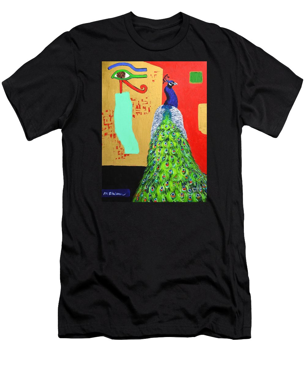 Peacock Men's T-Shirt (Athletic Fit) featuring the painting Messages by Ana Maria Edulescu