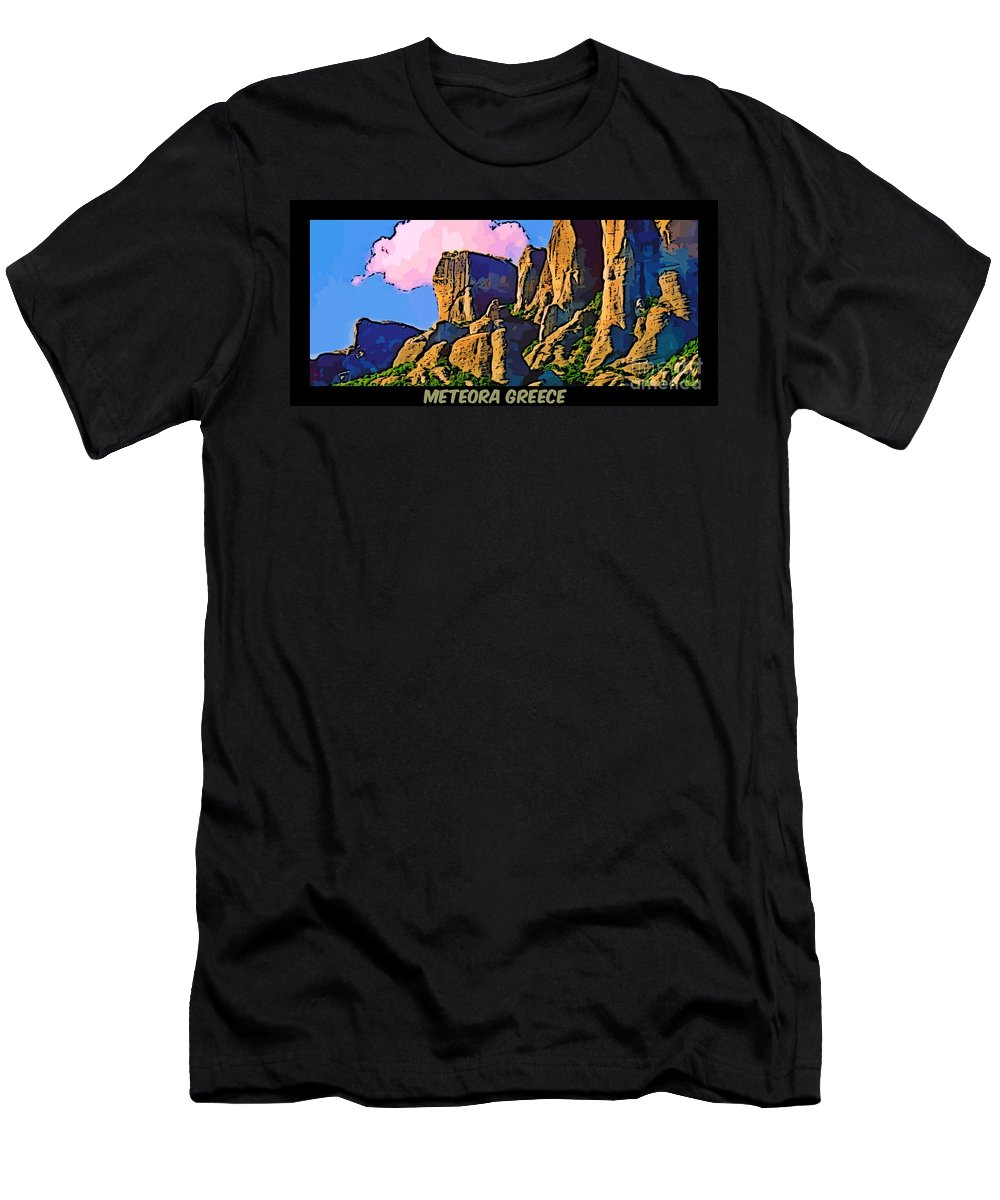 Meteora Greece Men's T-Shirt (Athletic Fit) featuring the photograph Meteora Greece Poster by John Malone