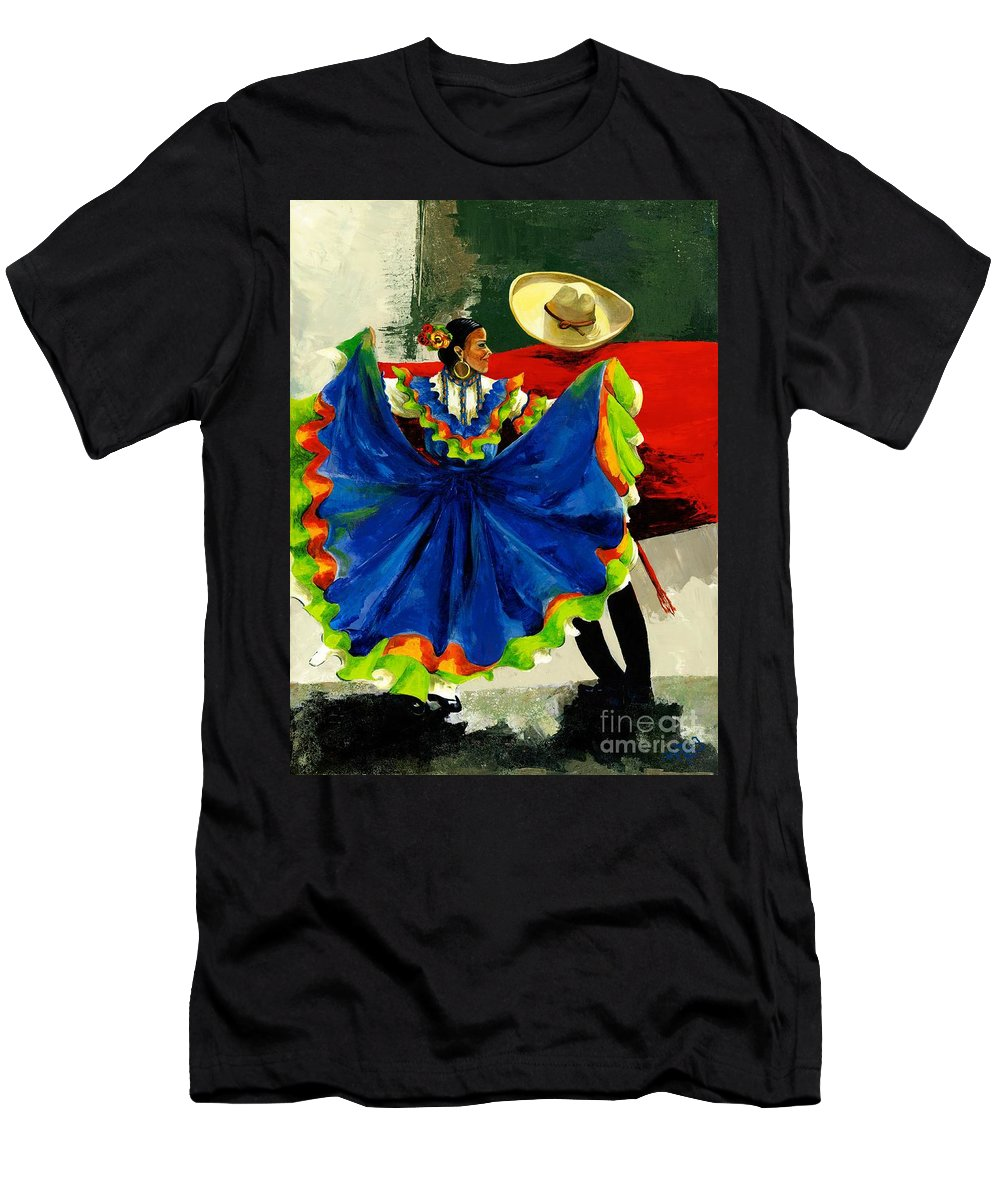 Canvas Prints Men's T-Shirt (Athletic Fit) featuring the painting Mexican Dancers by Elisabeta Hermann
