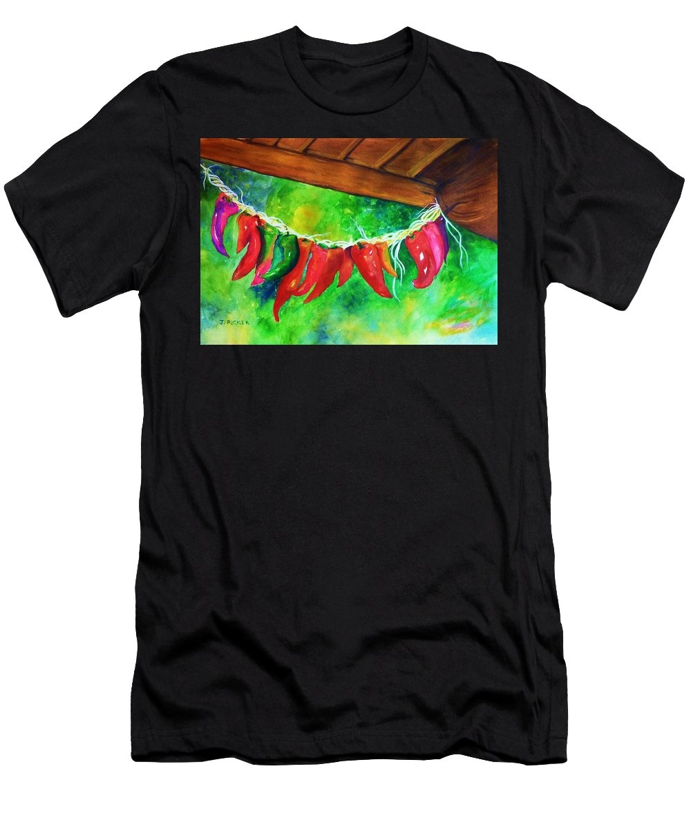 Hot Peppers Men's T-Shirt (Athletic Fit) featuring the painting Hot Stuff by Jane Ricker
