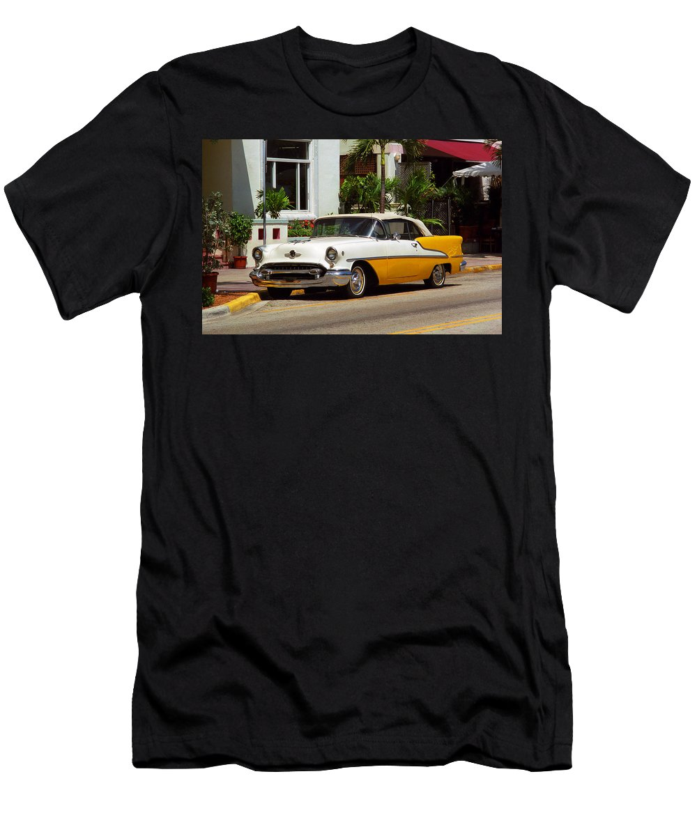 America Men's T-Shirt (Athletic Fit) featuring the photograph Miami Beach Classic Car by Frank Romeo