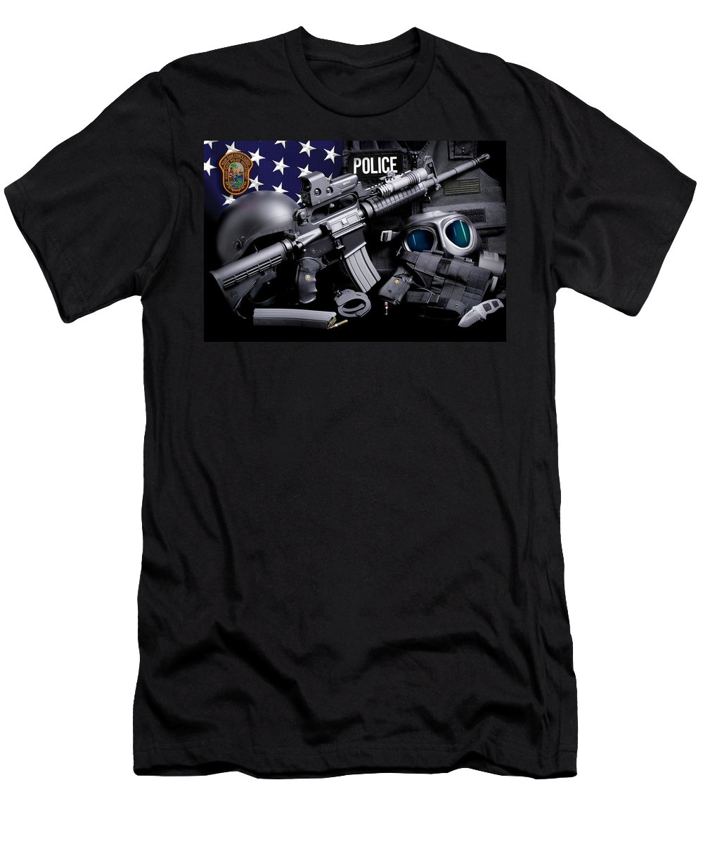 Miami-dade Police Men's T-Shirt (Athletic Fit) featuring the photograph Miami Dade Police by Gary Yost