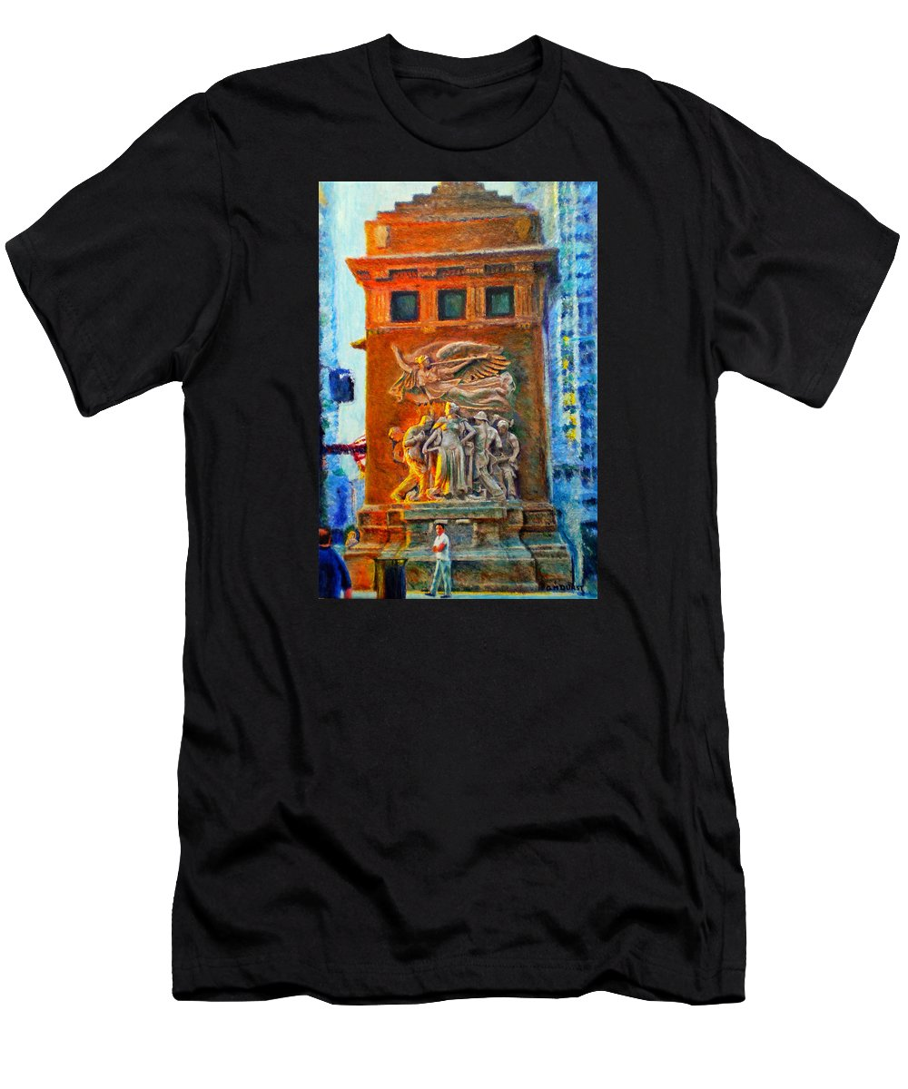 Chicago Men's T-Shirt (Athletic Fit) featuring the painting Michigan Avenue Bridge by Michael Durst