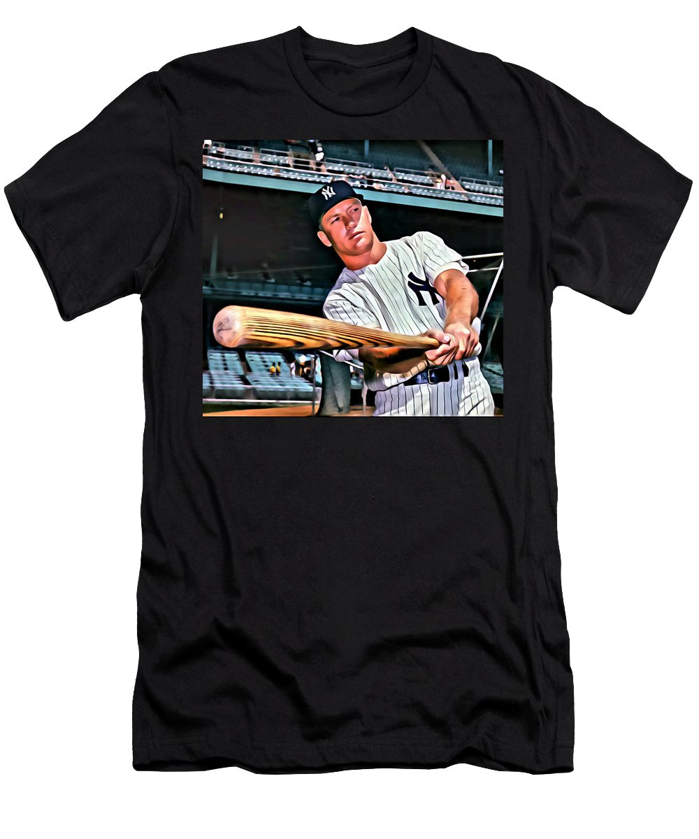 Mlb Men's T-Shirt (Athletic Fit) featuring the painting Mickey Mantle Painting by Florian Rodarte