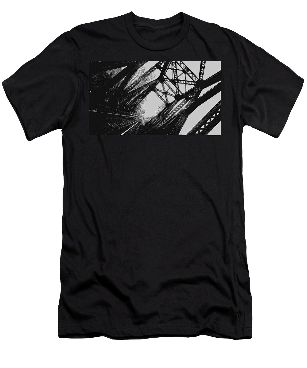 Rockwood Men's T-Shirt (Athletic Fit) featuring the photograph Mid Span In Black And White by Daniel Thompson