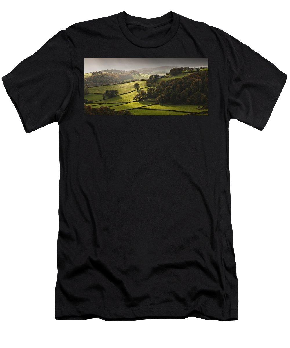Autumn Landscape Men's T-Shirt (Athletic Fit) featuring the photograph Mid Wales Autumn Landscape by Nigel Forster