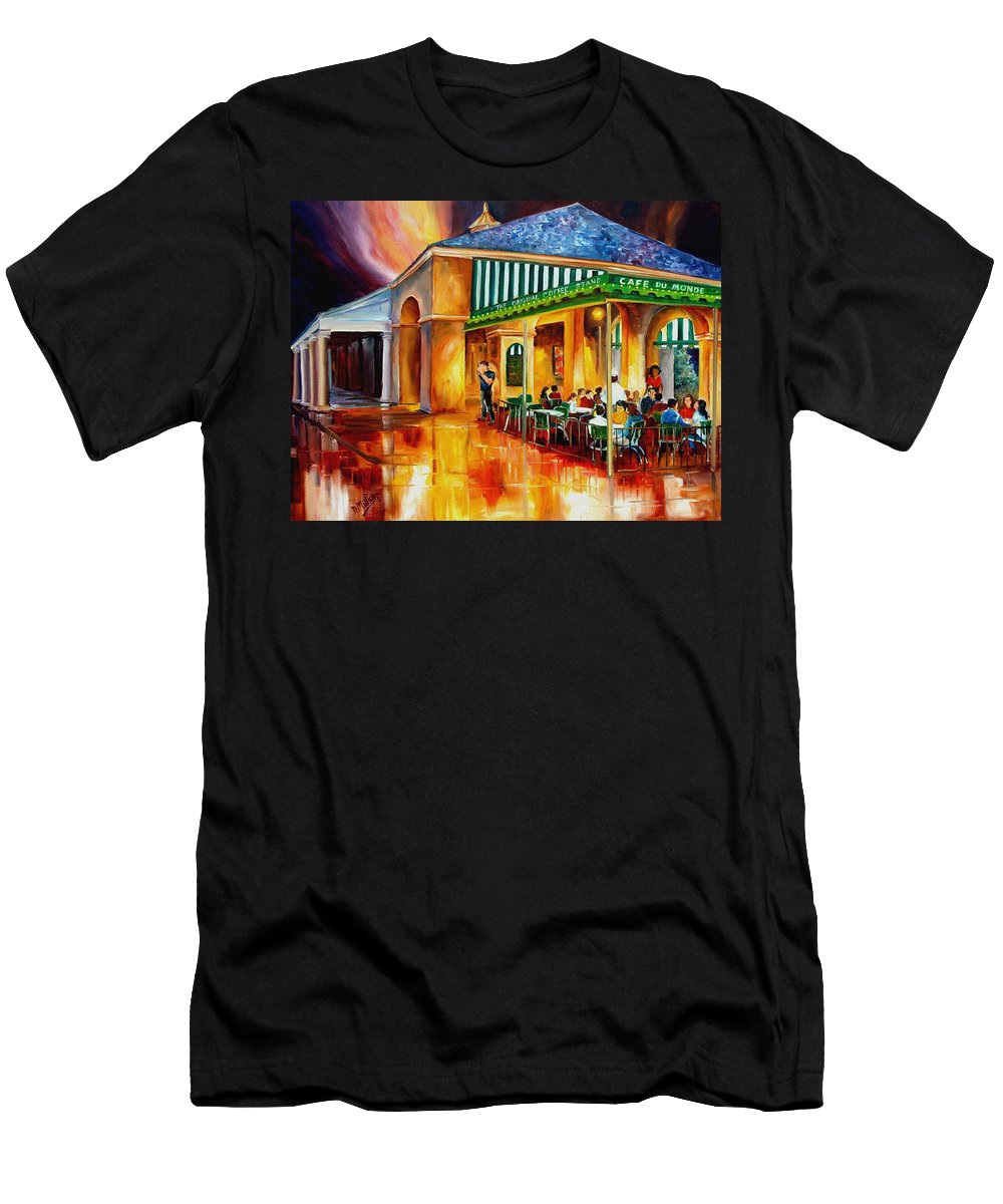 New Orleans Paintings Men's T-Shirt (Athletic Fit) featuring the painting Midnight At The Cafe Du Monde by Diane Millsap