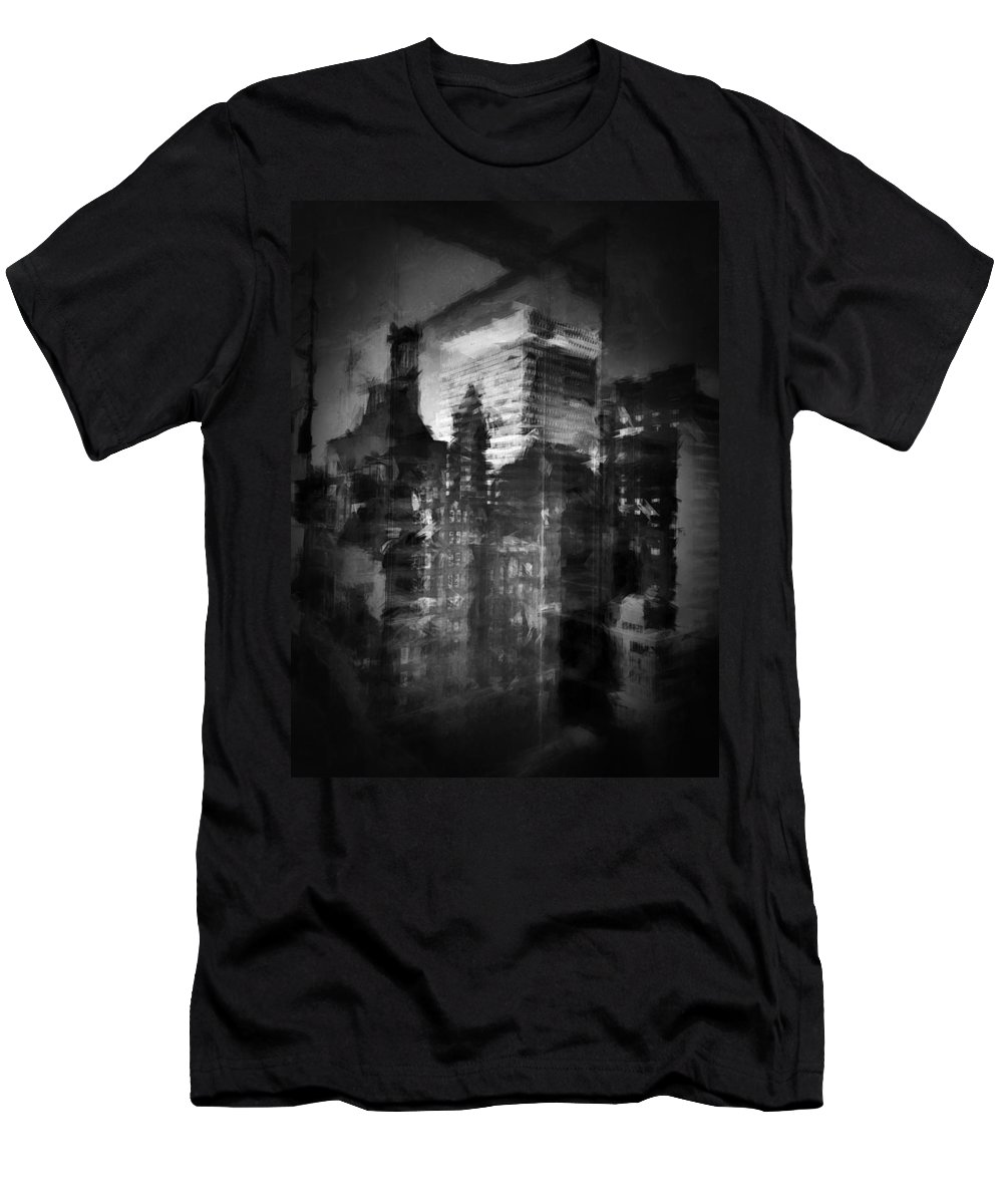 Black And White Men's T-Shirt (Athletic Fit) featuring the photograph Midtown Black And White by H James Hoff