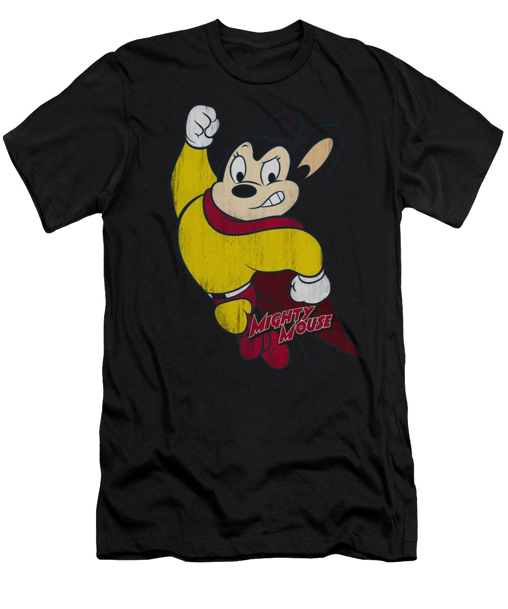 Mighty Mouse T-Shirt featuring the digital art Mighty Mouse - Classic Hero by Brand A