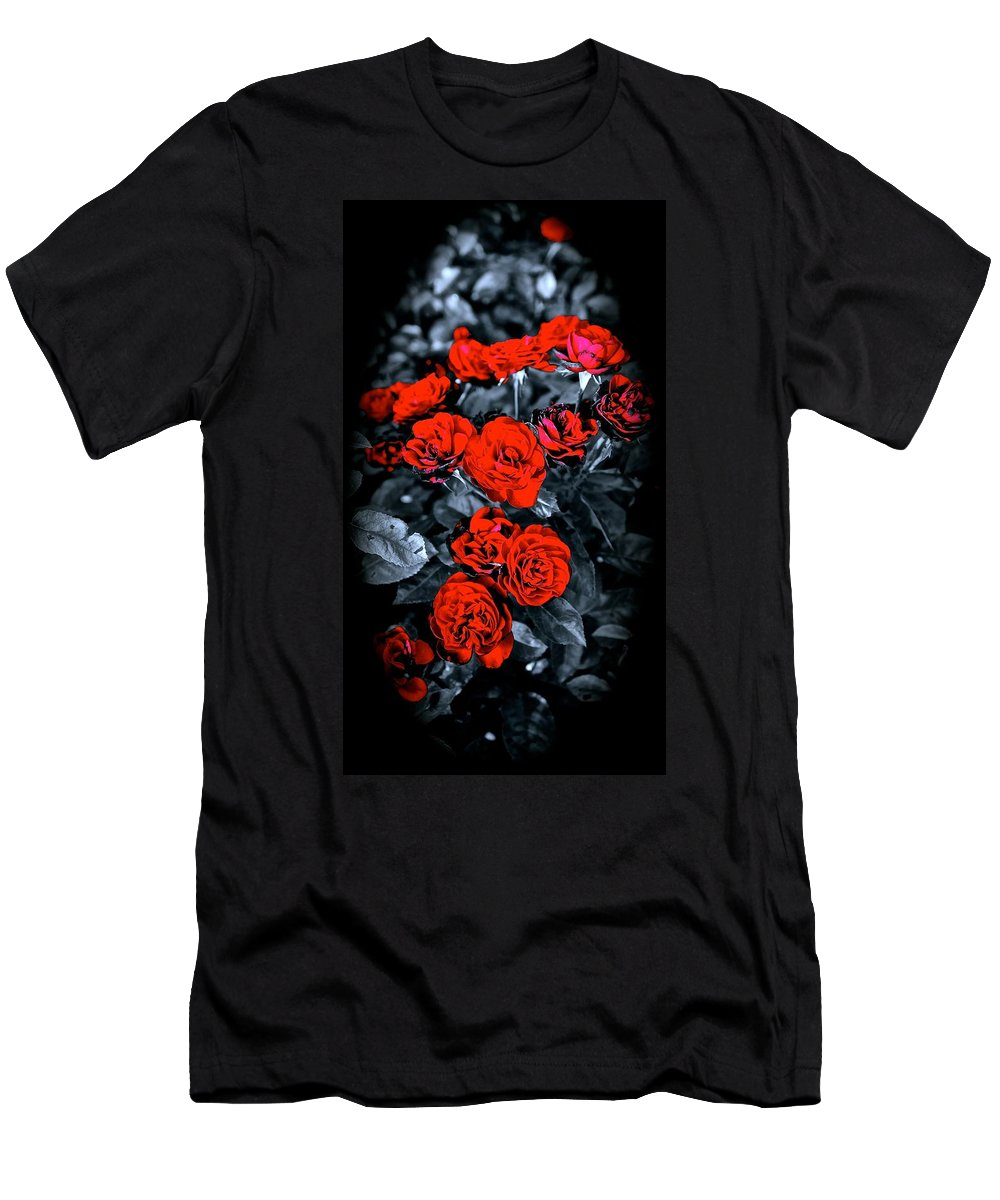 Nature Men's T-Shirt (Athletic Fit) featuring the photograph Mini Roses On Walk by Tim G Ross