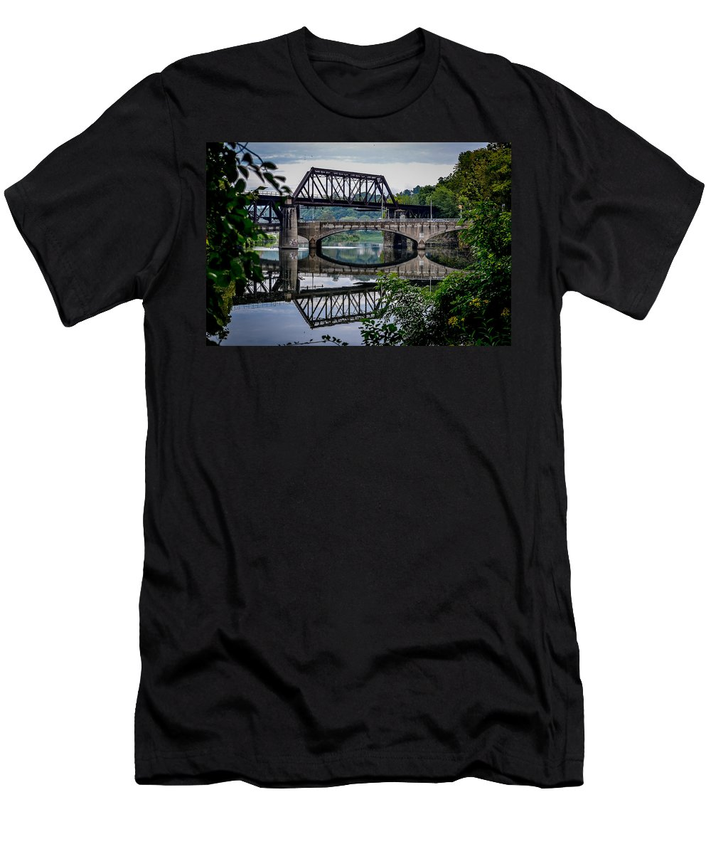 Central Railroad Of New Jersey Men's T-Shirt (Athletic Fit) featuring the photograph Mirrored Bridges by Michael Brooks
