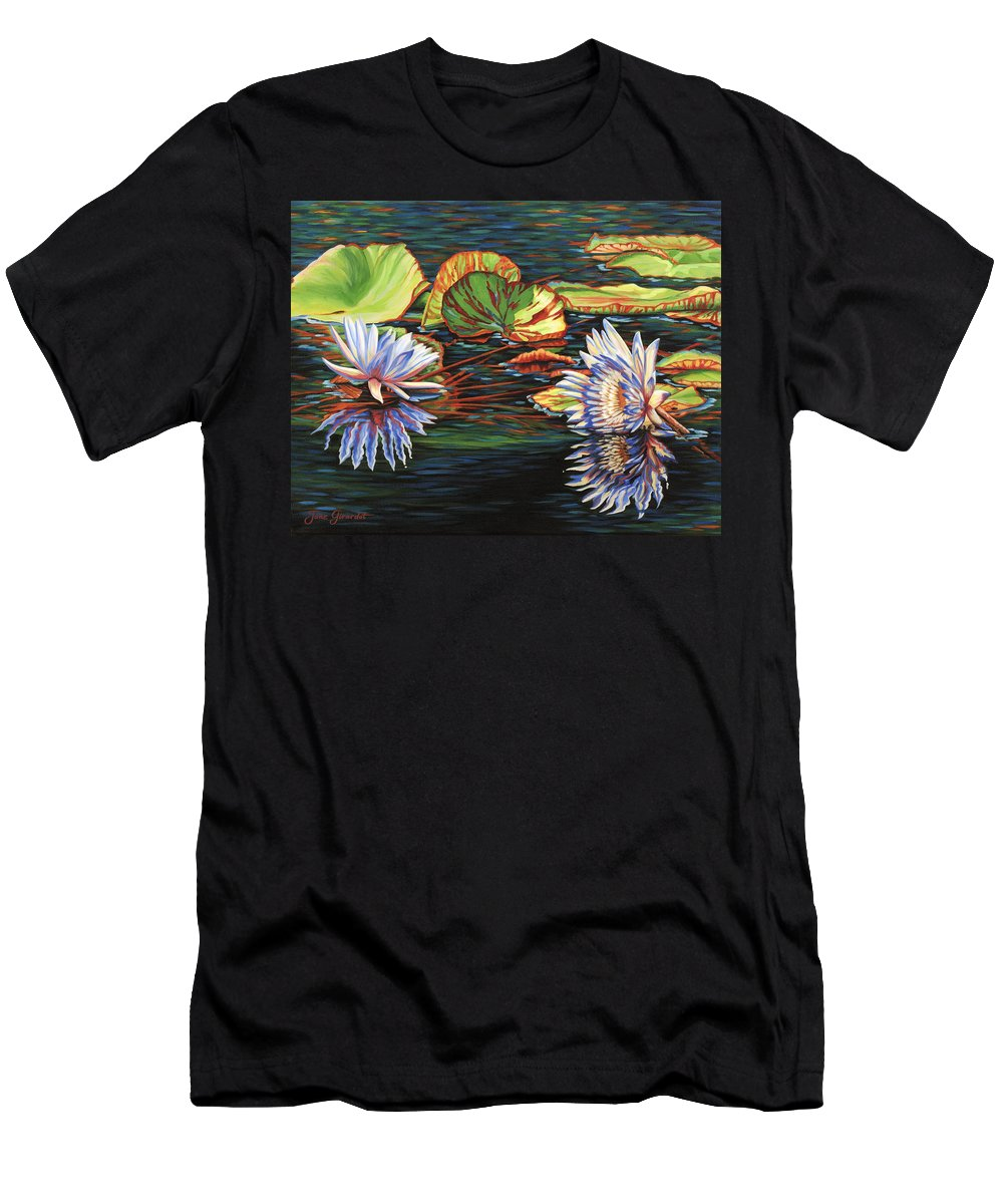 Lily Lilies Water Pond Pad Flower Flowers Floral Lake Men's T-Shirt (Athletic Fit) featuring the painting Mirrored Lilies by Jane Girardot