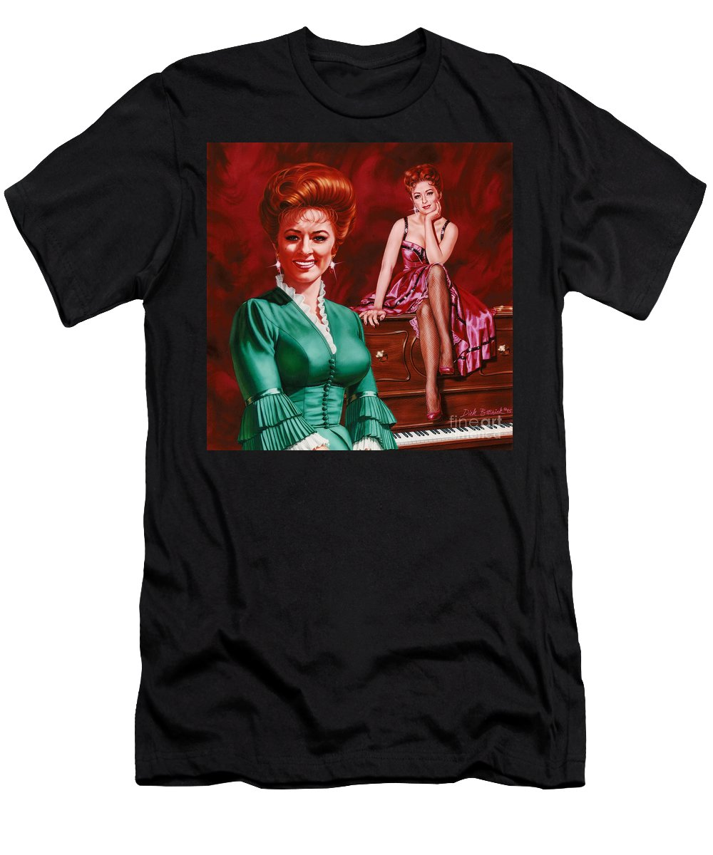 Portrait Men's T-Shirt (Athletic Fit) featuring the painting Miss Kitty by Dick Bobnick