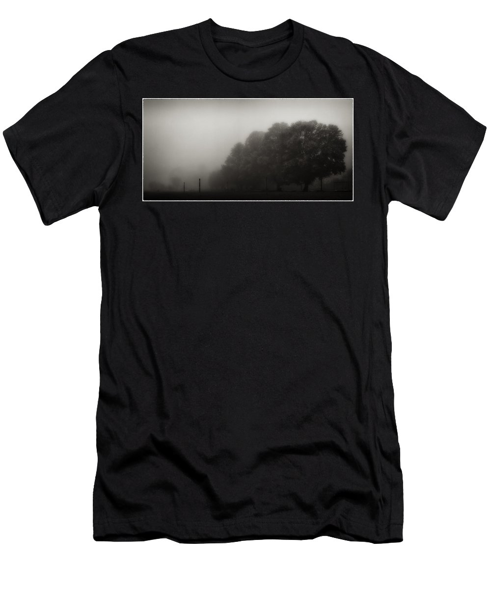 Atmosphere Men's T-Shirt (Athletic Fit) featuring the photograph Misty Autumn Trees by Peter v Quenter